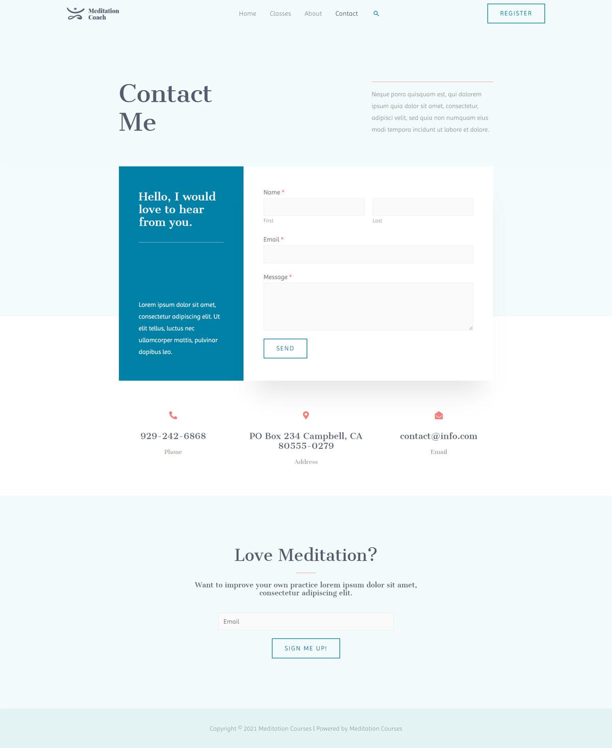 Готовый сайт онлайн курсов медитации. Создание сайтов в Костроме