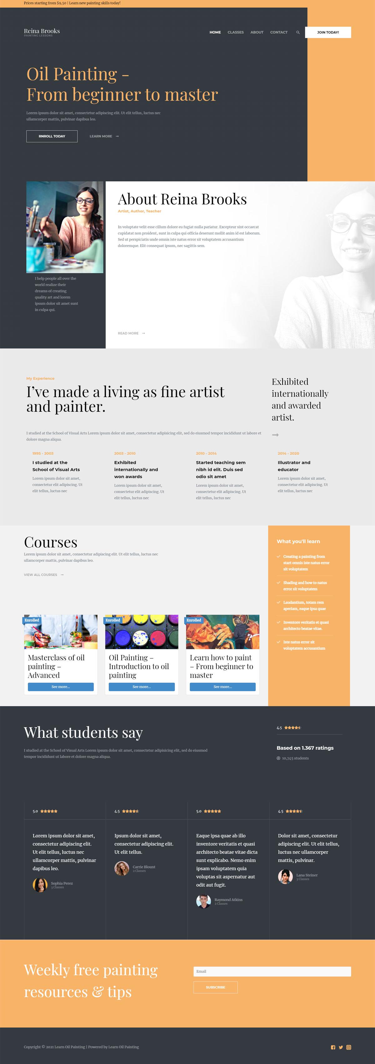 Готовый сайт онлайн курсов рисования масляными красками. Создание сайтов в Костроме