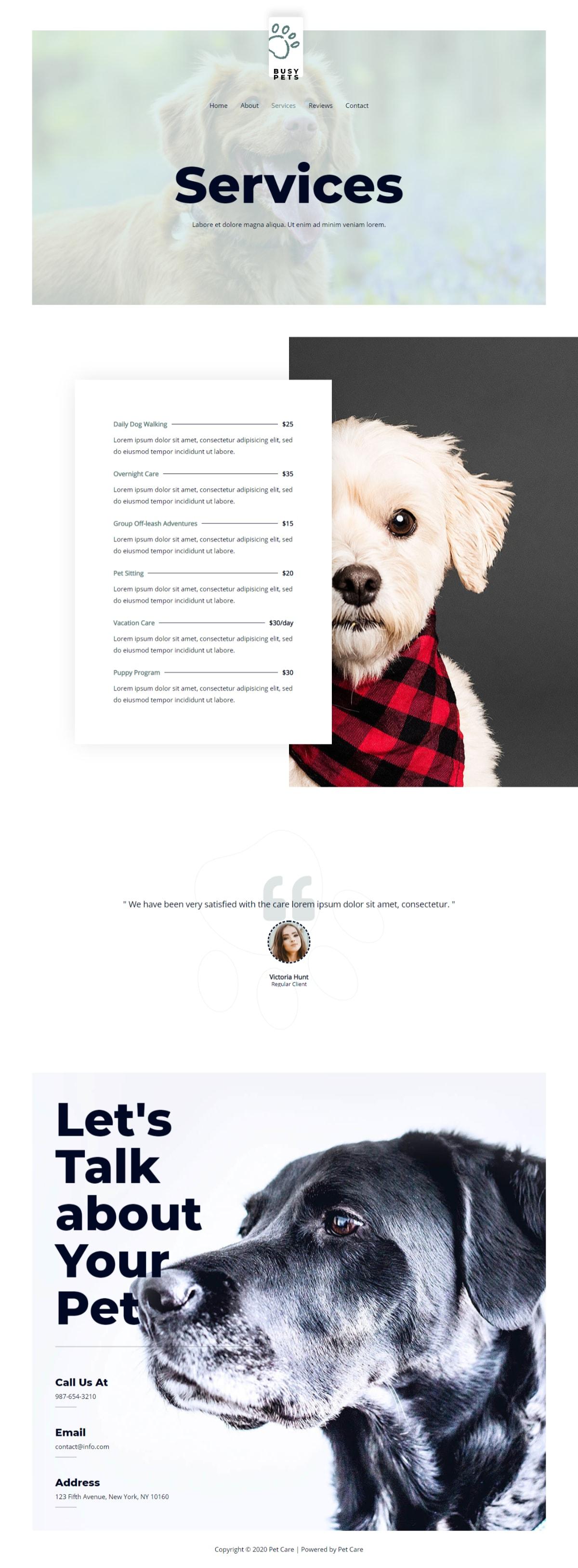 Готовый сайт службы ухода за животными. Создание сайтов в Костроме
