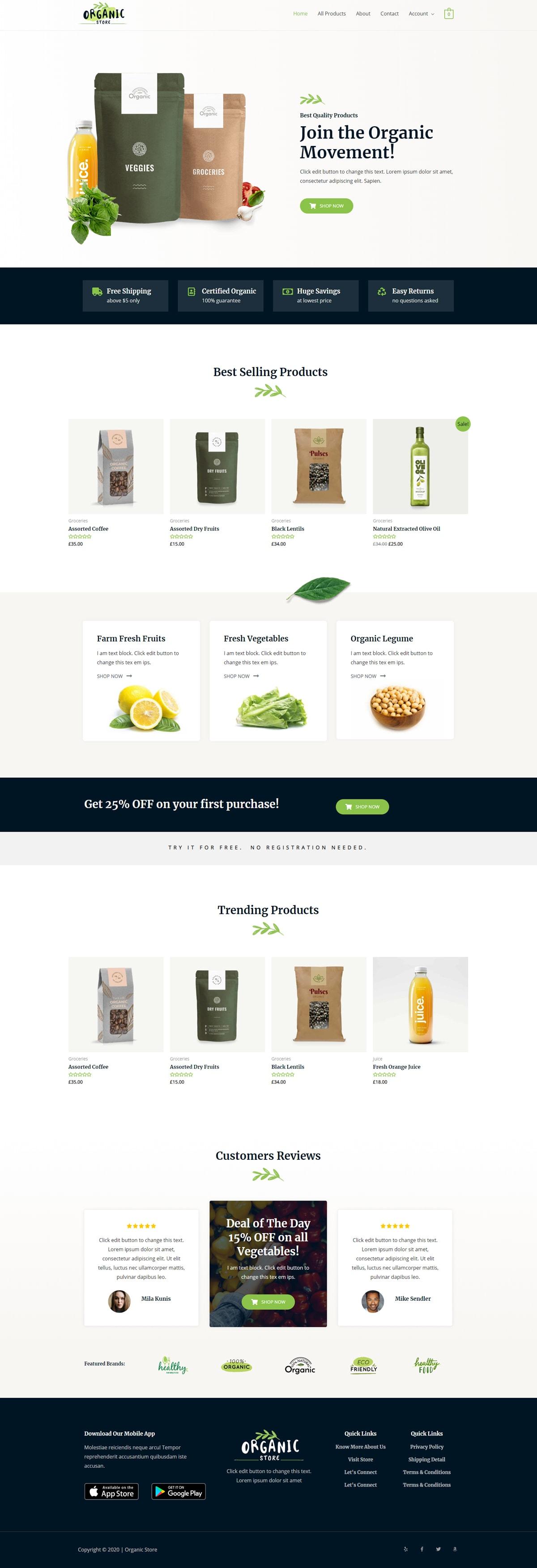 Готовый интернет-магазин органических продуктов питания. Создание сайтов в Костроме