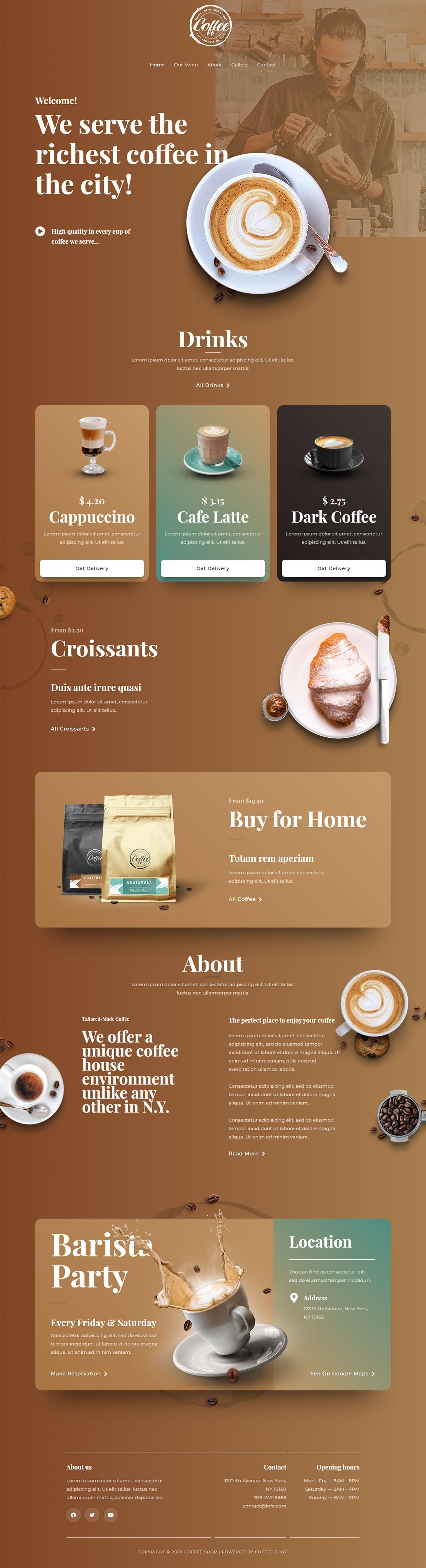 Готовый сайт кофейни. Создание сайтов в Костроме