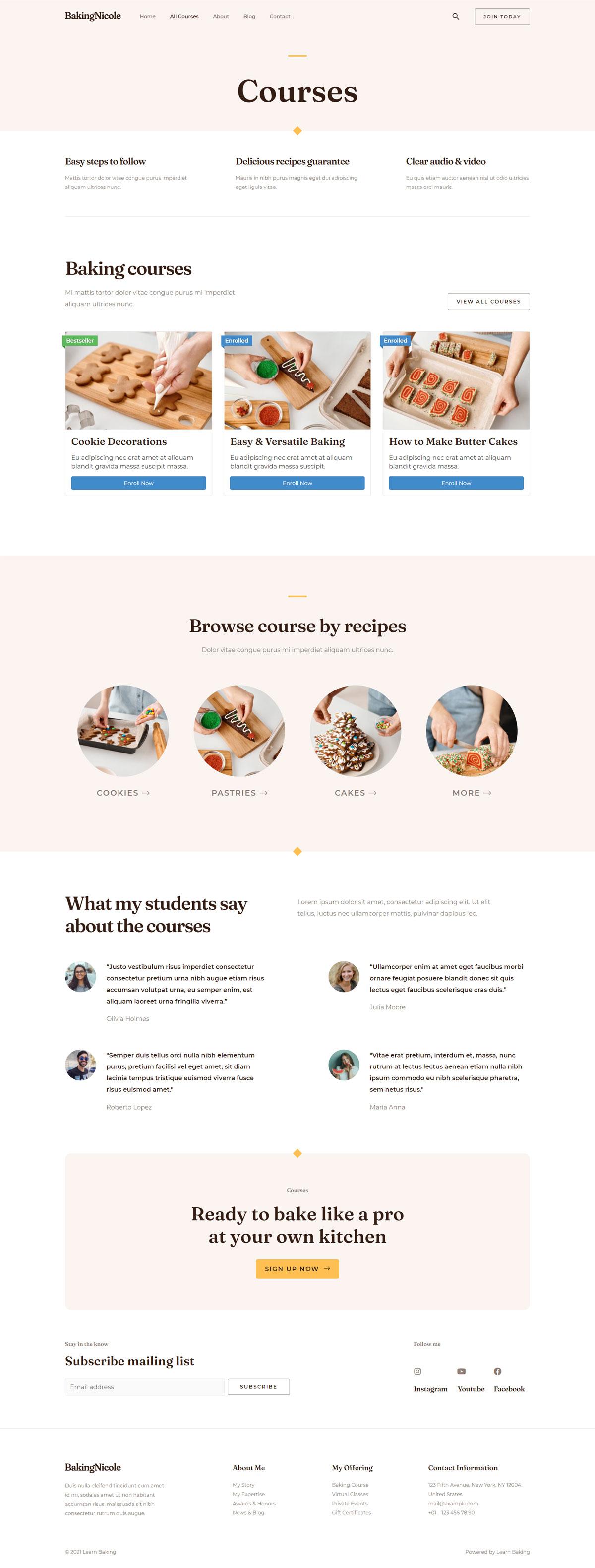 Готовый сайт онлайн курсов кондитеров. Создание сайтов в Костроме