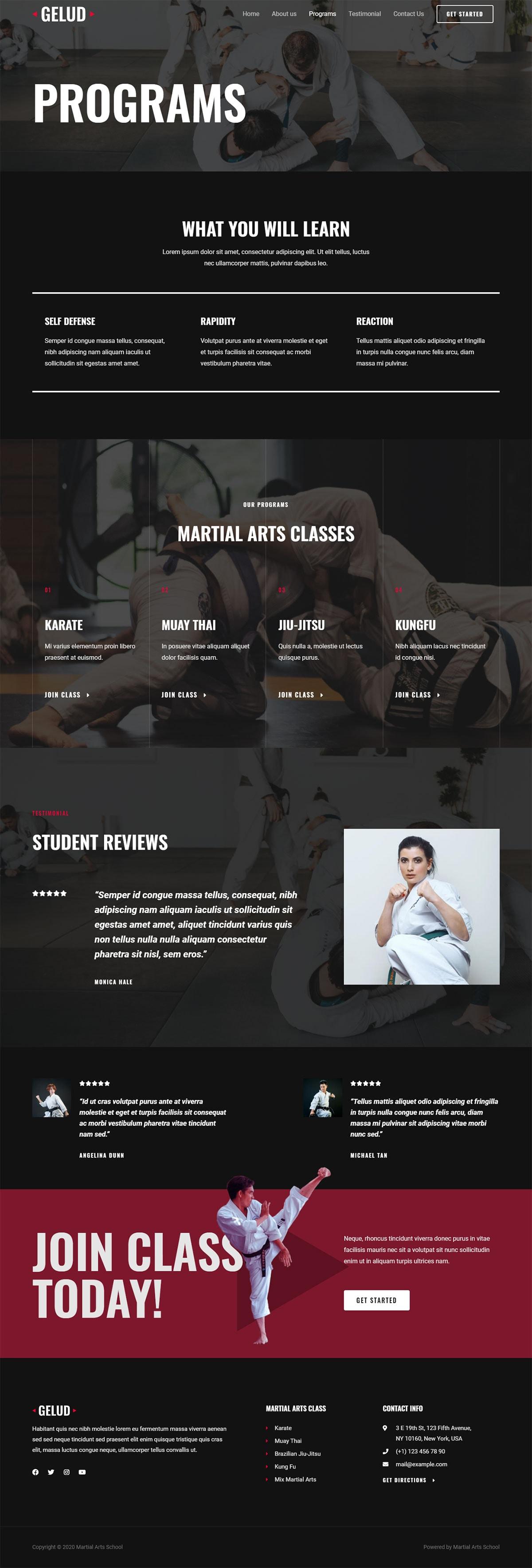 Готовый сайт школы боевых искусств. Создание сайтов в Костроме