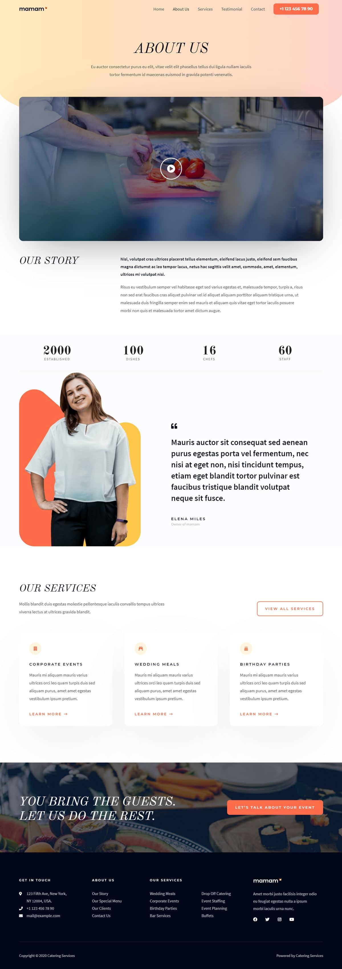 Готовый сайт кейтеринговой компании. Создание сайтов в Костроме